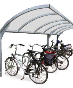 pensilina per biciclette luminosa